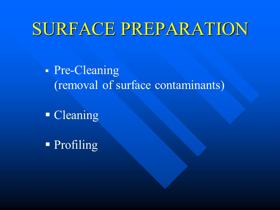 SURFACE PREPARATION Pre-Cleaning (removal of surface contaminants) Cleaning Profiling