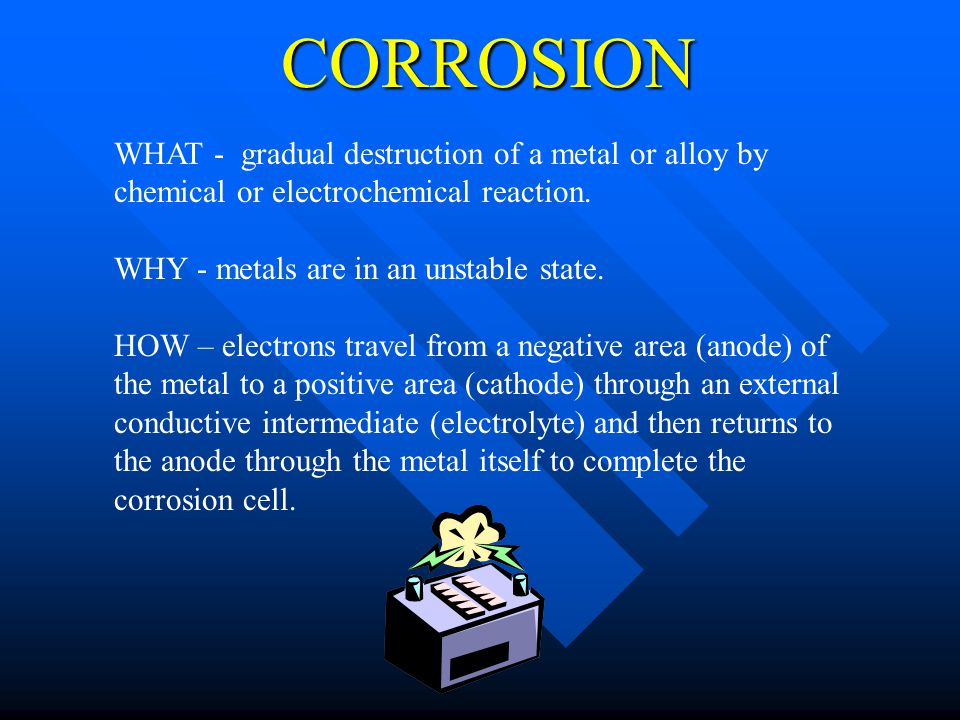 CORROSION WHAT - gradual destruction of a metal or alloy by chemical or electrochemical reaction. WHY - metals are in an unstable state. HOW – electro