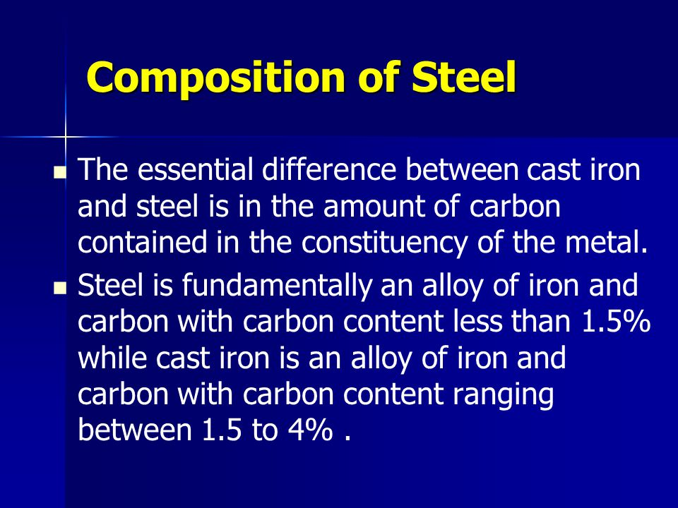 Composition of Steel The essential difference between cast iron and steel is in the amount of carbon contained in the constituency of the metal. Steel