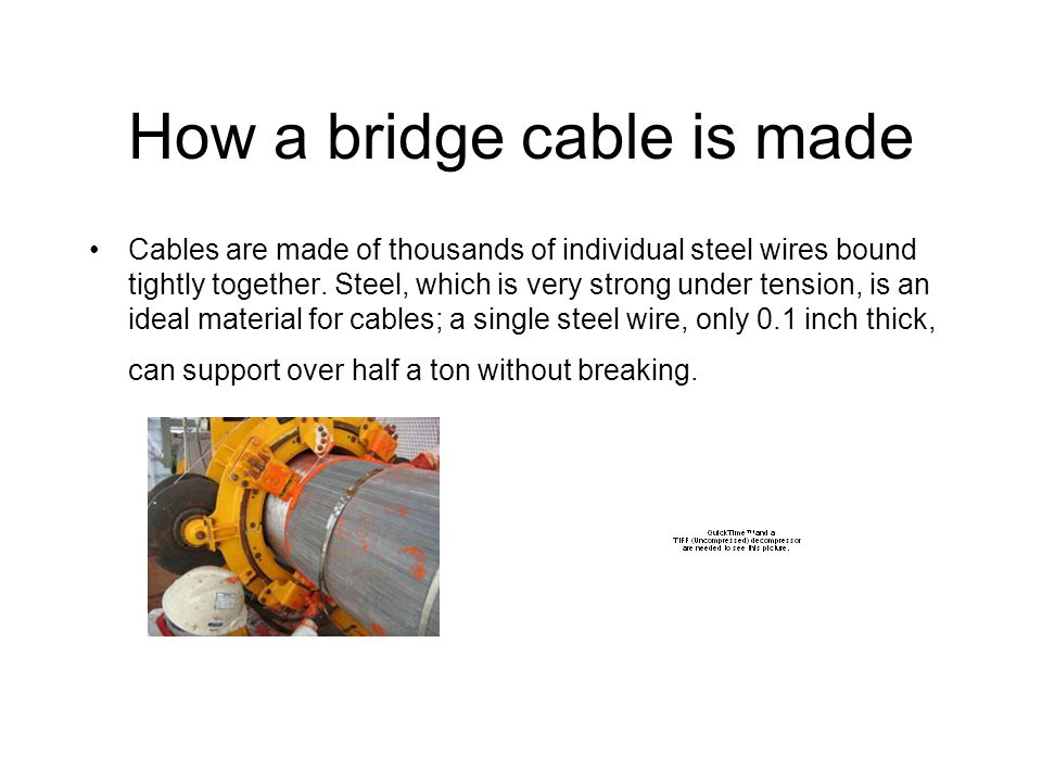 How a bridge cable is made Cables are made of thousands of individual steel wires bound tightly together.