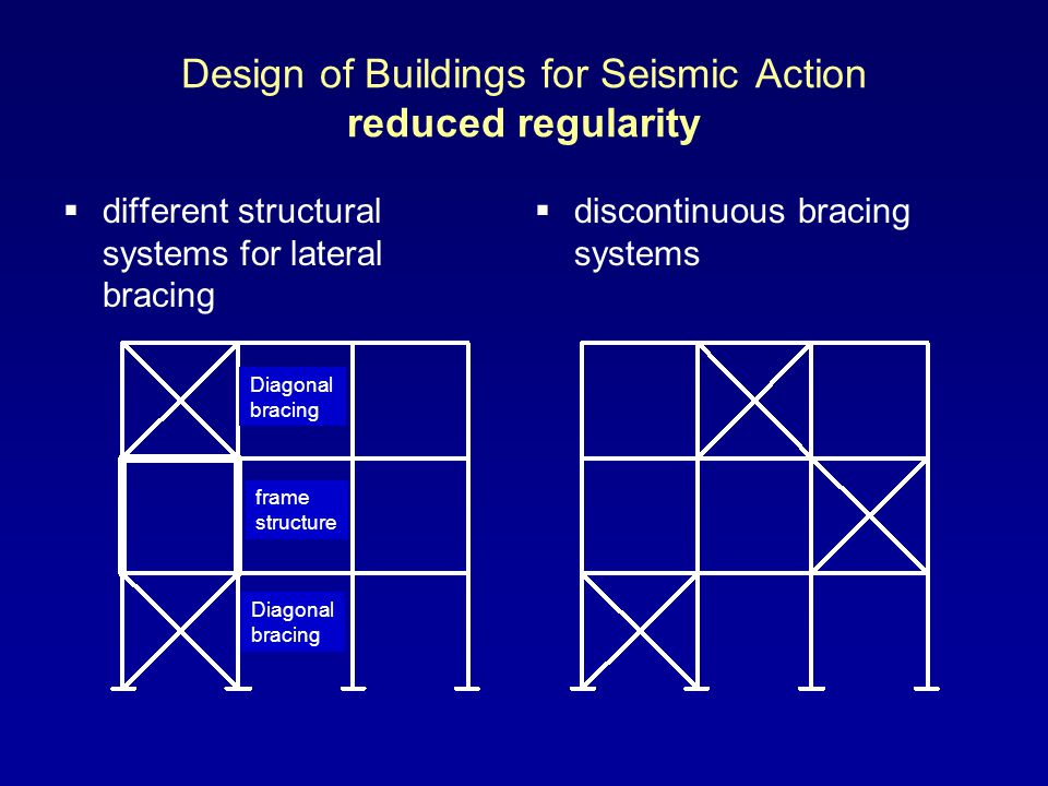Design of Buildings for Seismic Action reduced regularity different structural systems for lateral bracing discontinuous bracing systems Diagonal bracing frame structure Diagonal bracing