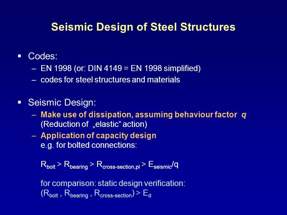 Seismic Design of Steel Structures Codes: –EN 1998 (or: DIN 4149 = EN 1998 simplified) –codes for steel structures and materials Seismic Design: –Make