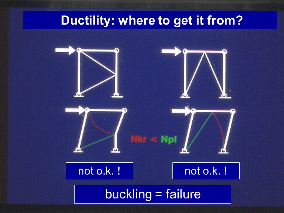 Ductility: where to get it from? not o.k. ! buckling = failure