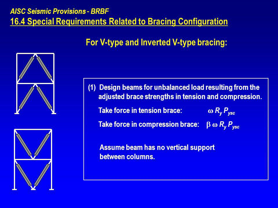AISC Seismic Provisions - BRBF 16.4 Special Requirements Related to Bracing Configuration (1) Design beams for unbalanced load resulting from the adju