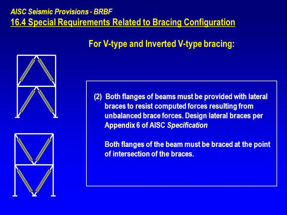AISC Seismic Provisions - BRBF 16.4 Special Requirements Related to Bracing Configuration For V-type and Inverted V-type bracing: (2) Both flanges of