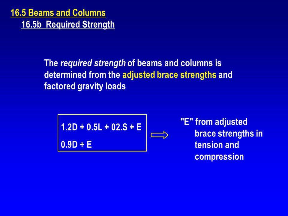 16.5 Beams and Columns 16.5b Required Strength The required strength of beams and columns is determined from the adjusted brace strengths and factored