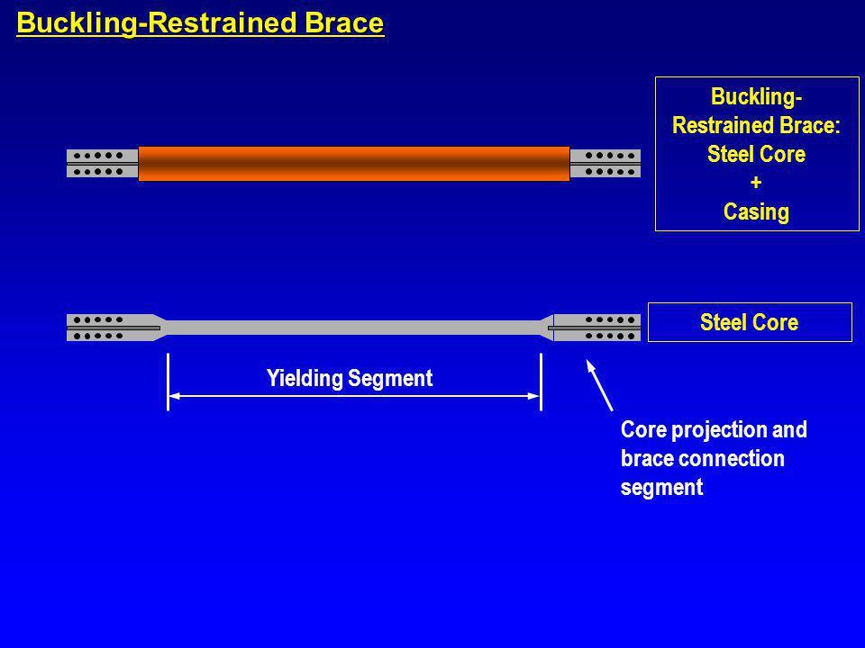 Buckling-Restrained Brace Buckling- Restrained Brace: Steel Core + Casing Steel Core Yielding Segment Core projection and brace connection segment