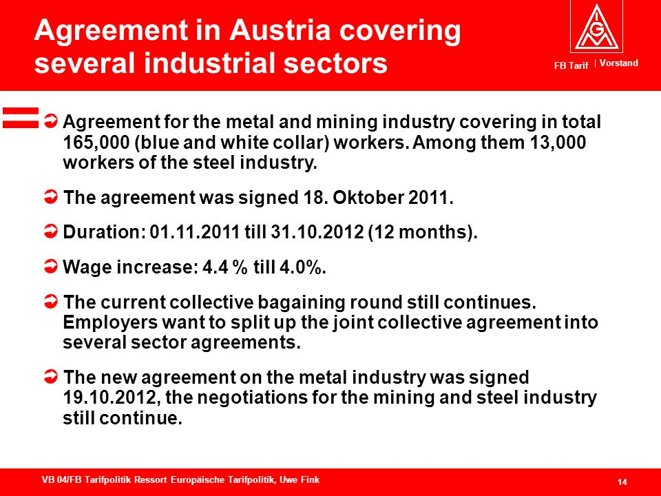 Vorstand FB Tarif 14 VB 04/FB Tarifpolitik Ressort Europäische Tarifpolitik, Uwe Fink Agreement in Austria covering several industrial sectors Agreeme