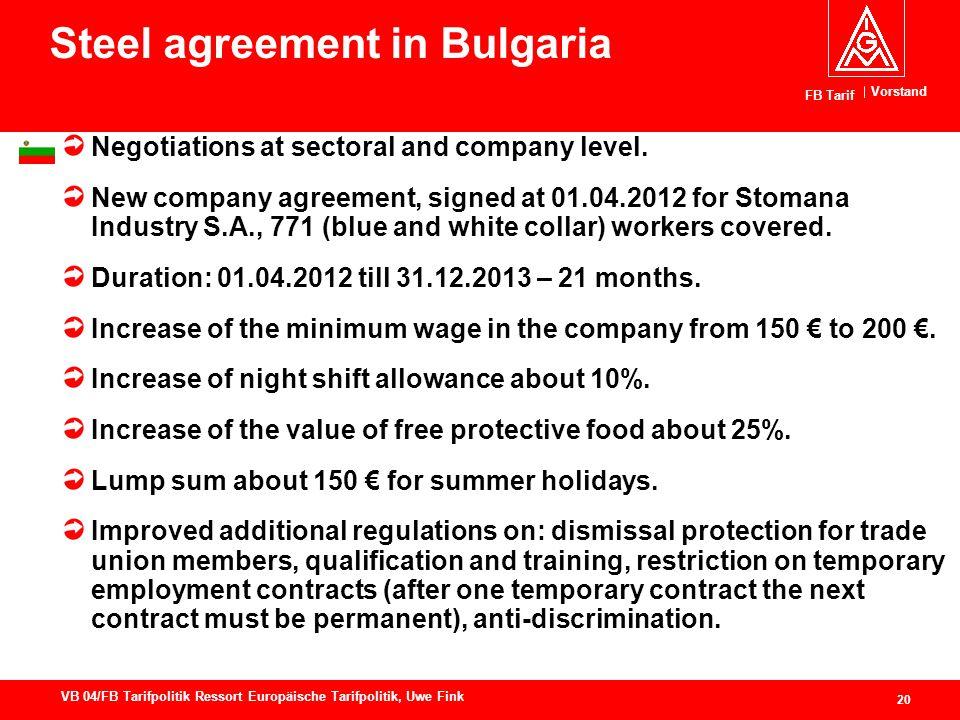 Vorstand FB Tarif 20 VB 04/FB Tarifpolitik Ressort Europäische Tarifpolitik, Uwe Fink Steel agreement in Bulgaria Negotiations at sectoral and company level.