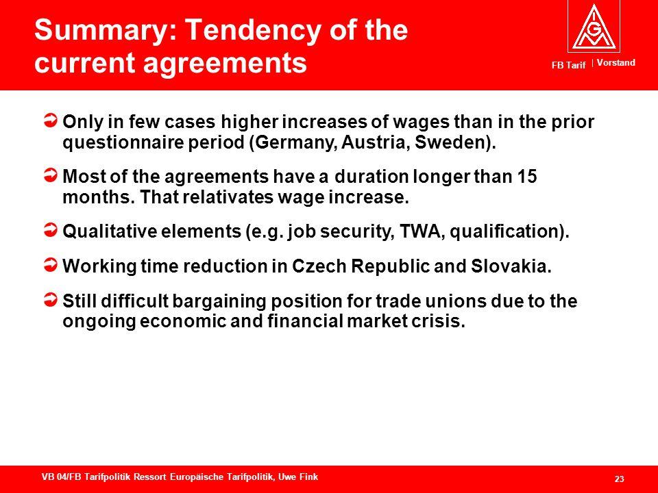 Vorstand FB Tarif 23 VB 04/FB Tarifpolitik Ressort Europäische Tarifpolitik, Uwe Fink Summary: Tendency of the current agreements Only in few cases hi