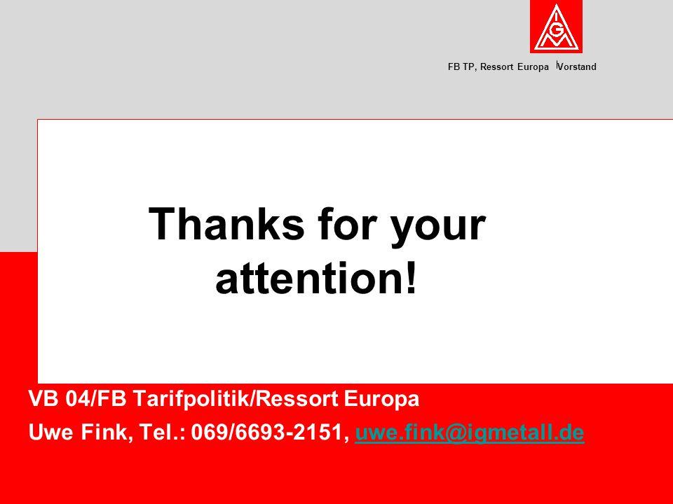 FB TP, Ressort Europa Vorstand VB 04/FB Tarifpolitik/Ressort Europa Uwe Fink, Tel.: 069/6693-2151, uwe.fink@igmetall.deuwe.fink@igmetall.de Thanks for your attention!
