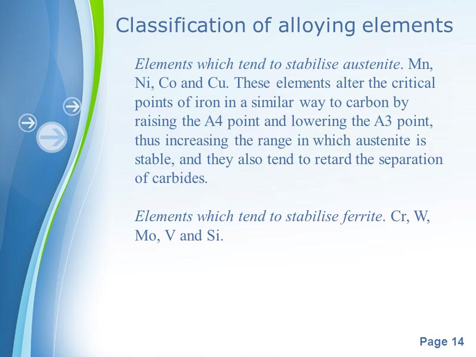 Powerpoint Templates Page 14 Classification of alloying elements Elements which tend to stabilise austenite. Mn, Ni, Co and Cu. These elements alter t
