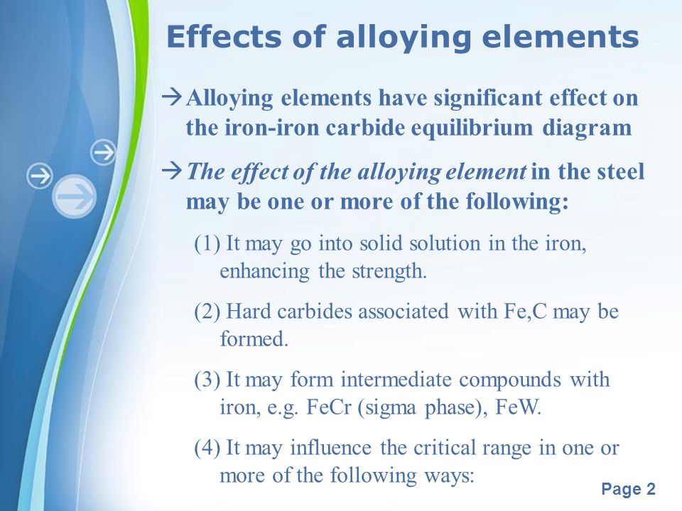 Powerpoint Templates Page 3 Effects of alloying elements (a) Alter the temperature.