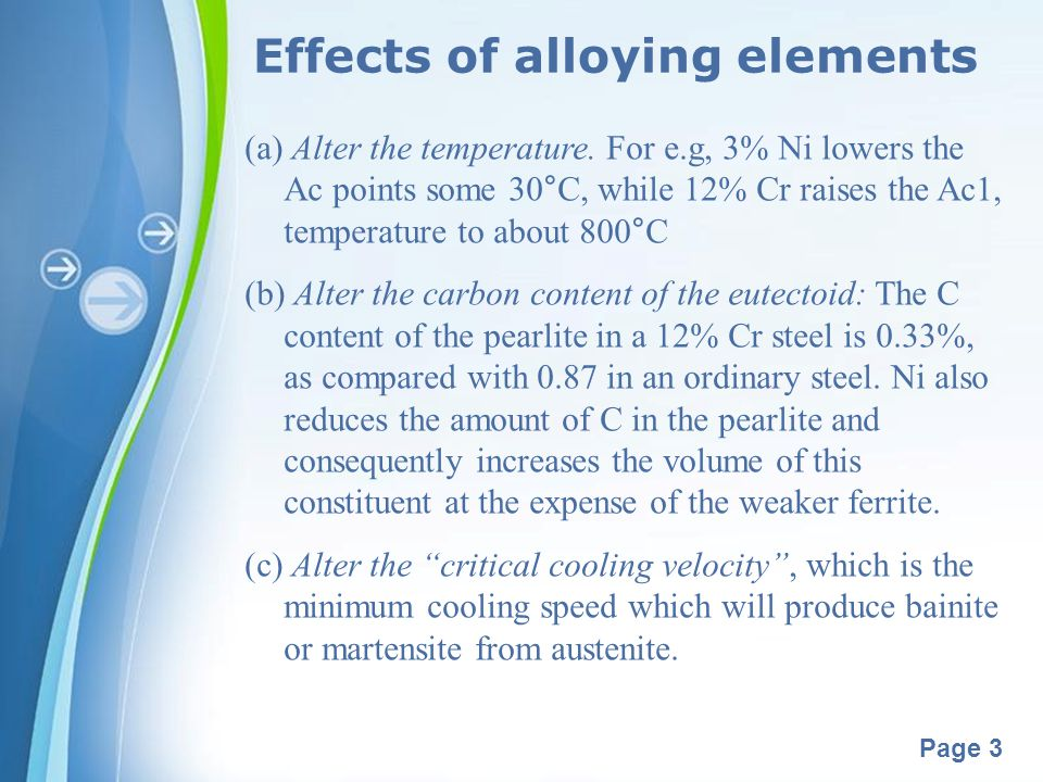 Powerpoint Templates Page 3 Effects of alloying elements (a) Alter the temperature. For e.g, 3% Ni lowers the Ac points some 30°C, while 12% Cr raises