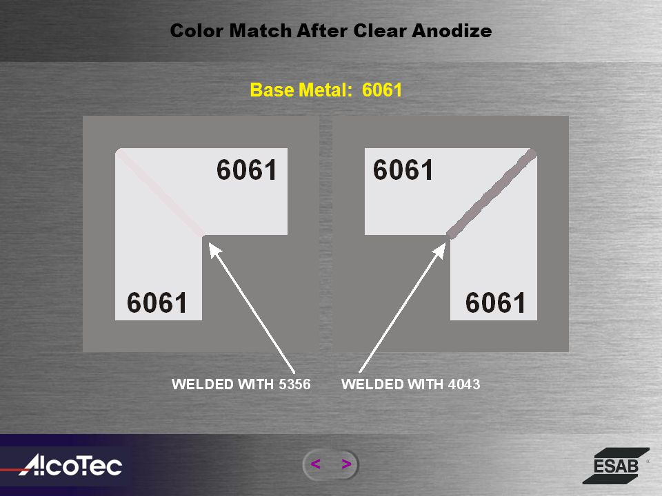 <> Color Match After Anodize M Rating Scale: A - B Ratings Scale Measures Uniformity Of Color Comparing Base Alloy And Weld Metal After Anodizing. Eit