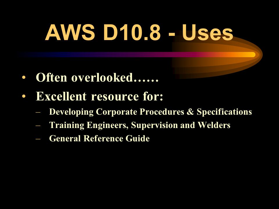 AWS D10.8 … provide recommendations for welding chromium-molybdenum steel pipe and tubing to itself and to various other materials. Subjects covered i