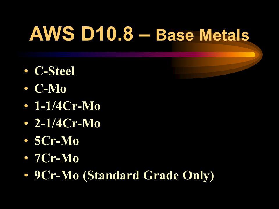 AWS D10.8 - Content Base Metals Weld Filler Metals Joint Design & Preparation (purging) Preheating Post Weld Heat Treatment Repair/Maintenance of Serv