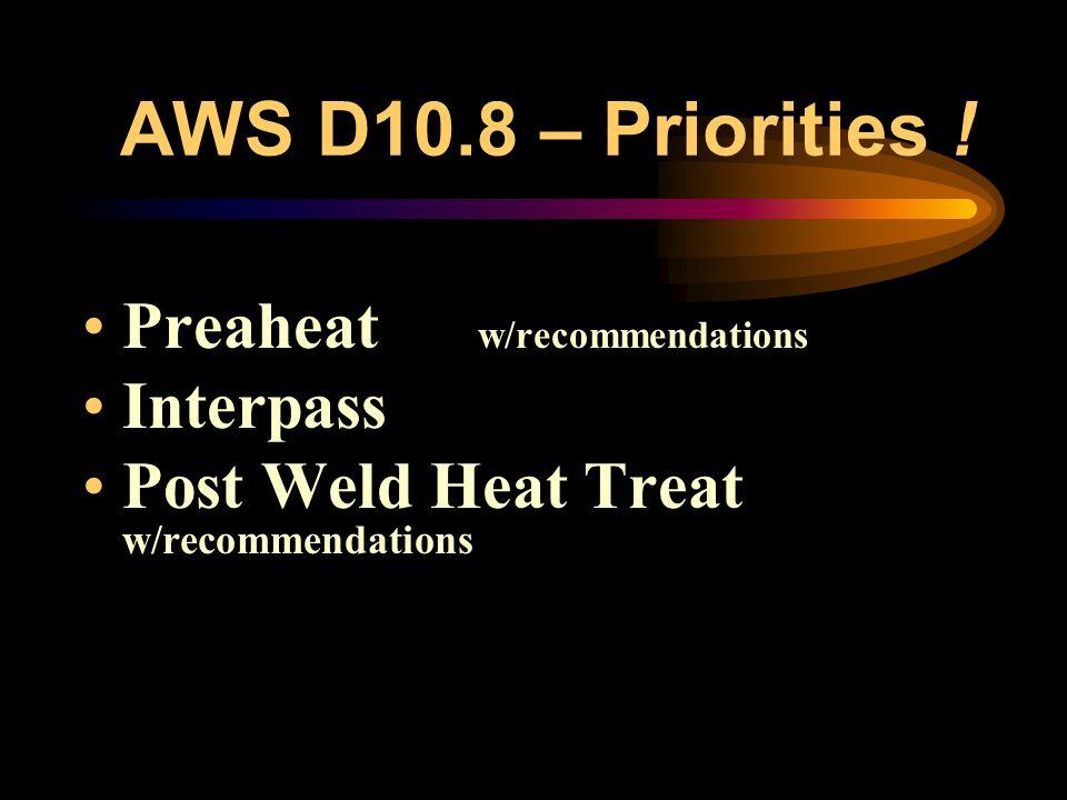 AWS D10.8 – Filler Metal Recommendations –Process –AWS Classification Options [C, CrMo & Ni-base] –Similar v. Dissimilar