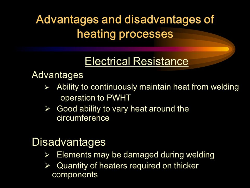 Advantages and disadvantages of heating processes Induction Heating Advantages High heating rates Ability to heat a narrow band adjacent to a region w