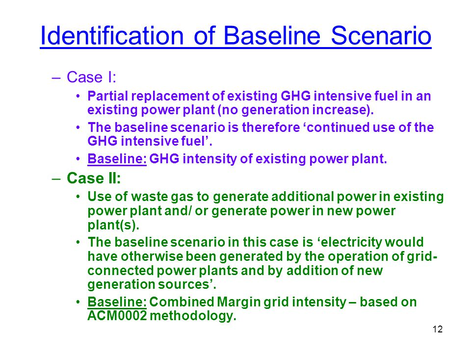 12 Identification of Baseline Scenario –Case I: Partial replacement of existing GHG intensive fuel in an existing power plant (no generation increase)