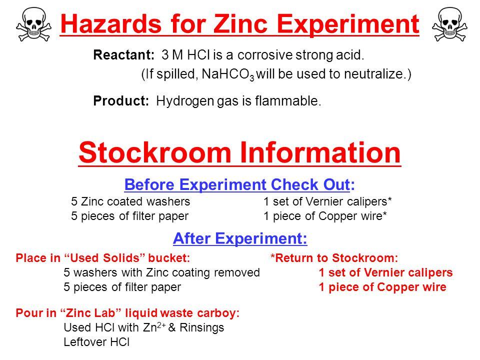 Hazards for Zinc Experiment Reactant: 3 M HCl is a corrosive strong acid.