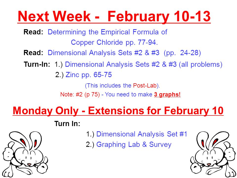 Next Week - February Read: Determining the Empirical Formula of Copper Chloride pp.
