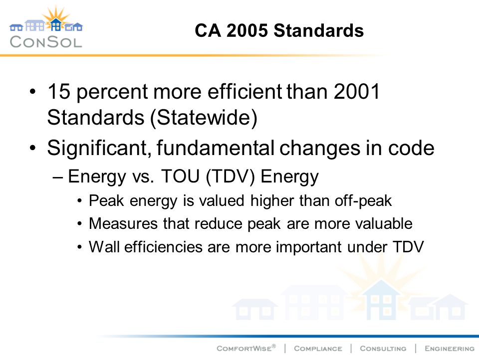 CA 2005 Standards 15 percent more efficient than 2001 Standards (Statewide) Significant, fundamental changes in code –Energy vs. TOU (TDV) Energy Peak