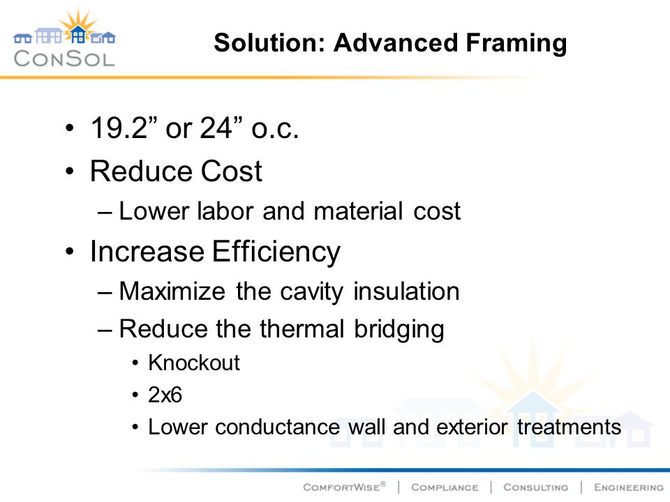 Solution: Advanced Framing 19.2 or 24 o.c. Reduce Cost –Lower labor and material cost Increase Efficiency –Maximize the cavity insulation –Reduce the