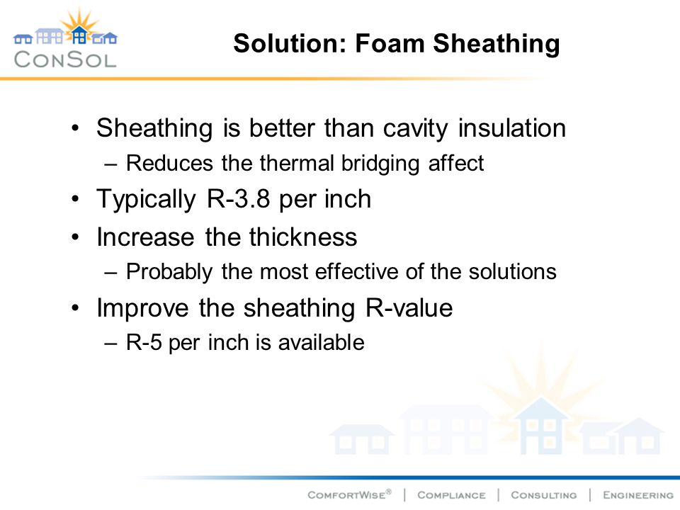 Solution: Foam Sheathing Sheathing is better than cavity insulation –Reduces the thermal bridging affect Typically R-3.8 per inch Increase the thickne