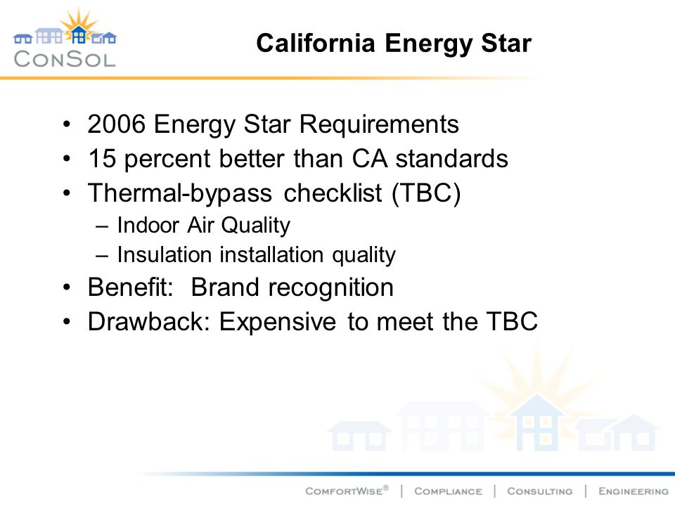 California Energy Star 2006 Energy Star Requirements 15 percent better than CA standards Thermal-bypass checklist (TBC) –Indoor Air Quality –Insulatio