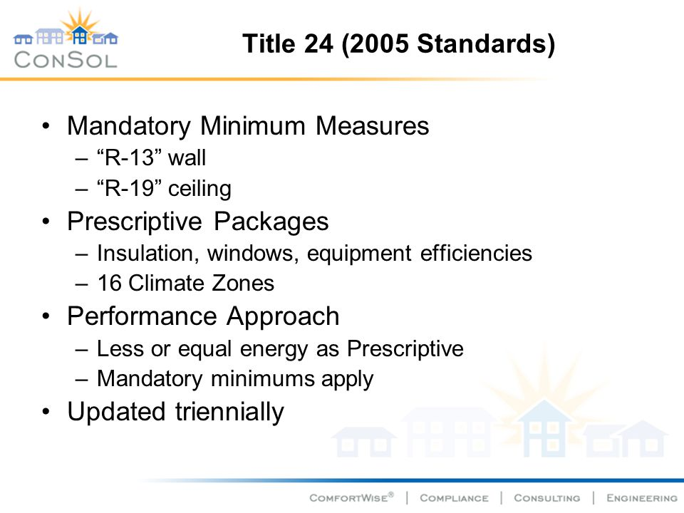 Title 24 (2005 Standards) Mandatory Minimum Measures –R-13 wall –R-19 ceiling Prescriptive Packages –Insulation, windows, equipment efficiencies –16 Climate Zones Performance Approach –Less or equal energy as Prescriptive –Mandatory minimums apply Updated triennially