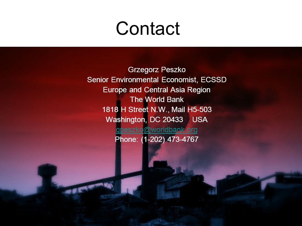 Contact Grzegorz Peszko Senior Environmental Economist, ECSSD Europe and Central Asia Region The World Bank 1818 H Street N.W., Mail H5-503 Washington