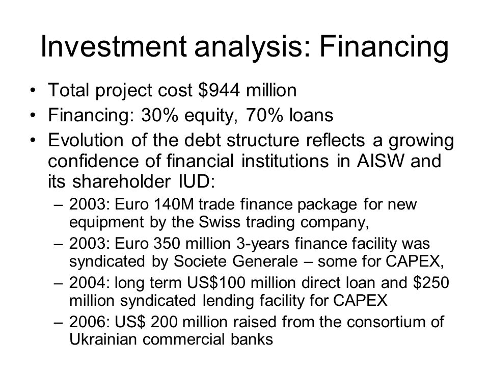 Investment analysis: Financing Total project cost $944 million Financing: 30% equity, 70% loans Evolution of the debt structure reflects a growing confidence of financial institutions in AISW and its shareholder IUD: –2003: Euro 140M trade finance package for new equipment by the Swiss trading company, –2003: Euro 350 million 3-years finance facility was syndicated by Societe Generale – some for CAPEX, –2004: long term US$100 million direct loan and $250 million syndicated lending facility for CAPEX –2006: US$ 200 million raised from the consortium of Ukrainian commercial banks