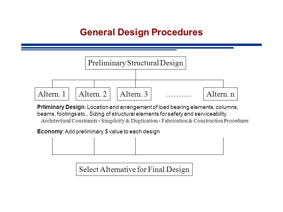 General Design Procedures Preliminary Structural Design Altern.