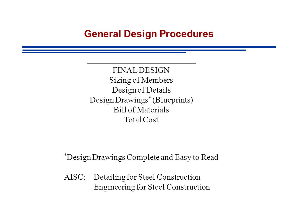 General Design Procedures FINAL DESIGN Sizing of Members Design of Details Design Drawings * (Blueprints) Bill of Materials Total Cost * Design Drawings Complete and Easy to Read AISC: Detailing for Steel Construction Engineering for Steel Construction