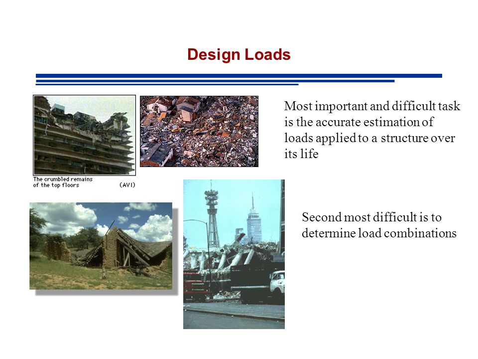 Design Loads Most important and difficult task is the accurate estimation of loads applied to a structure over its life Second most difficult is to determine load combinations