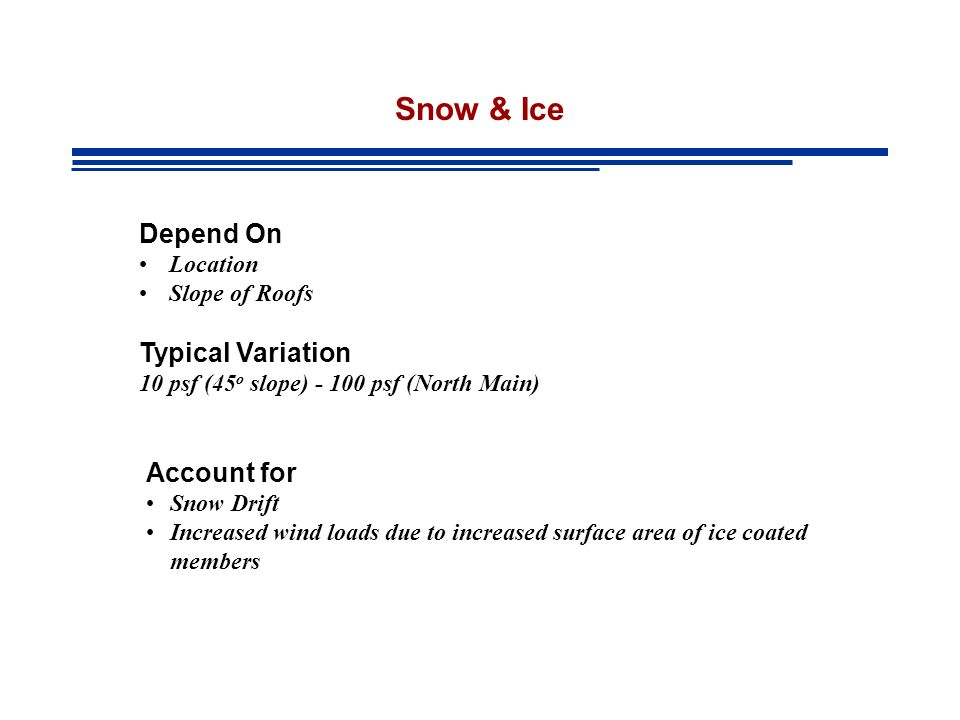 Snow & Ice Depend On Location Slope of Roofs Account for Snow Drift Increased wind loads due to increased surface area of ice coated members Typical Variation 10 psf (45 o slope) - 100 psf (North Main)
