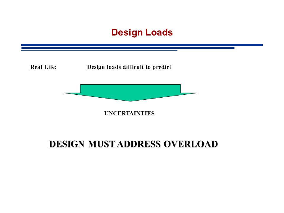Design Loads Real Life: Design loads difficult to predict UNCERTAINTIES DESIGN MUST ADDRESS OVERLOAD