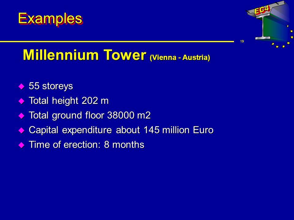 19 ExamplesExamples Millennium Tower (Vienna - Austria) u 55 storeys u Total height 202 m u Total ground floor 38000 m2 u Capital expenditure about 14
