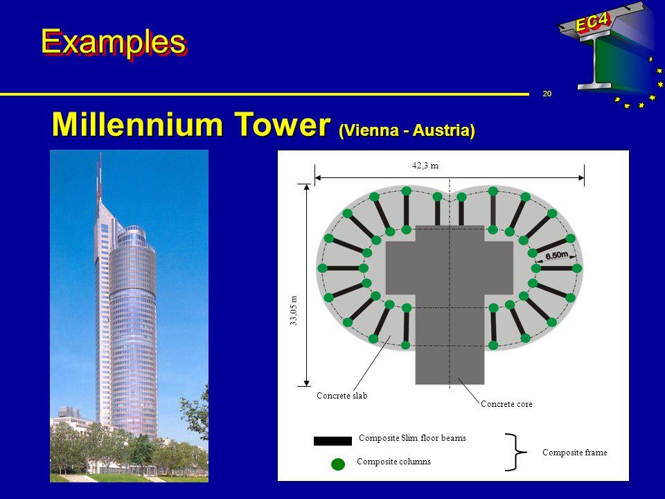 20 ExamplesExamples Millennium Tower (Vienna - Austria) Composite columns Concrete core Composite Slim floor beams Concrete slab 42,3 m Composite fram