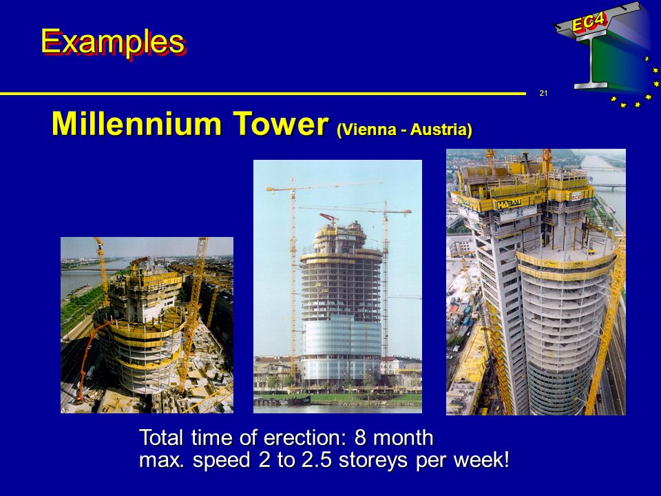 21 ExamplesExamples Millennium Tower (Vienna - Austria) Total time of erection: 8 month max. speed 2 to 2.5 storeys per week!