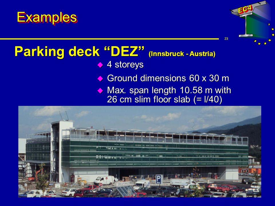 23 ExamplesExamples Parking deck DEZ (Innsbruck - Austria) u 4 storeys u Ground dimensions 60 x 30 m u Max. span length 10.58 m with 26 cm slim floor