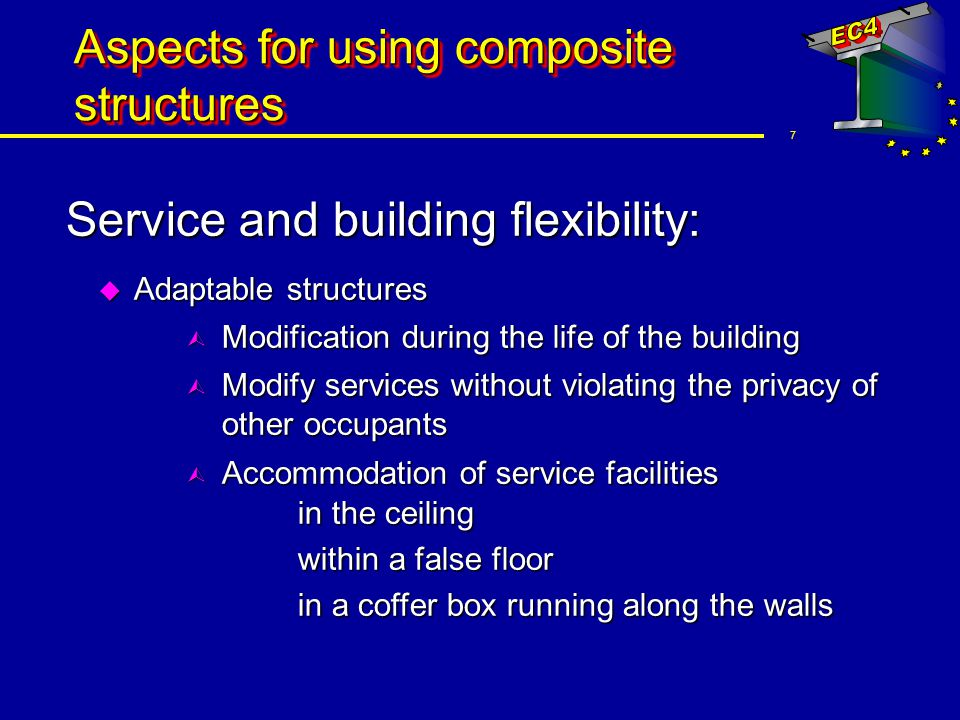 8 Aspects for using composite structures Assembly: u Working platforms of steel decking u Permanent shuttering u Reinforcement of profiled steel sheetings u Speed and simplicity of construction u Quality controlled products ensure greater accuracy