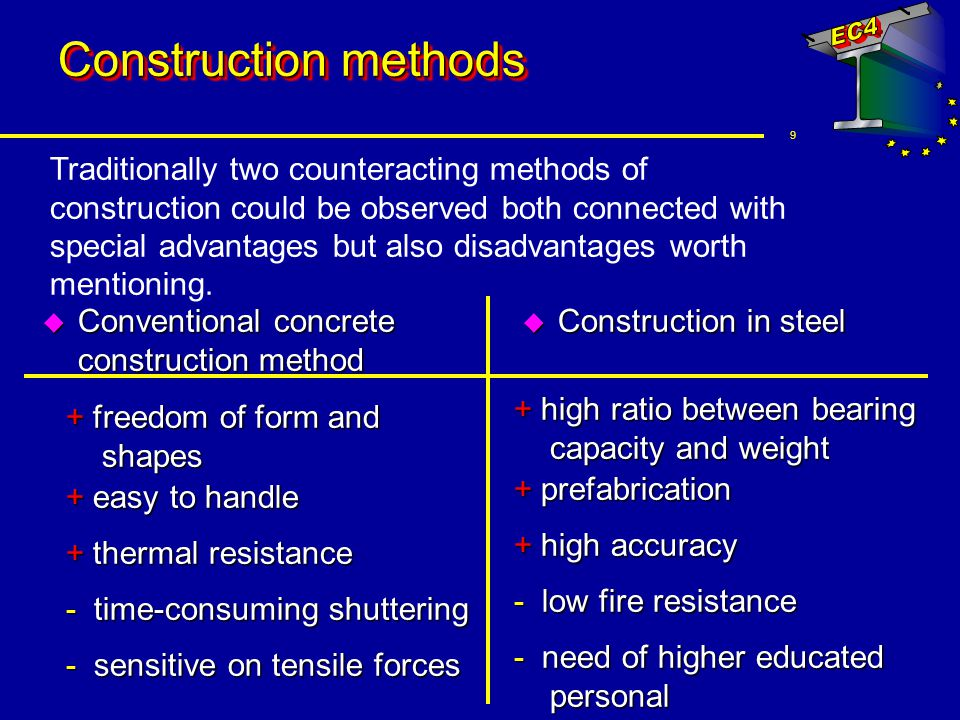 10 Construction methods u Composite Construction comparing these two methods a combination of both presents the most economic way + higher bearing capacity + higher stiffness + plastic redistribution