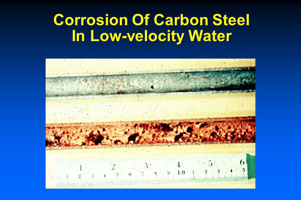 Corrosion Of Carbon Steel In Water 72 ºF (22 ºC) 104 ºF (40 ºC) Corrosion Rate, mpy pH of Water 0.25 0.51 0.76 Corrosion Rate, mm/y