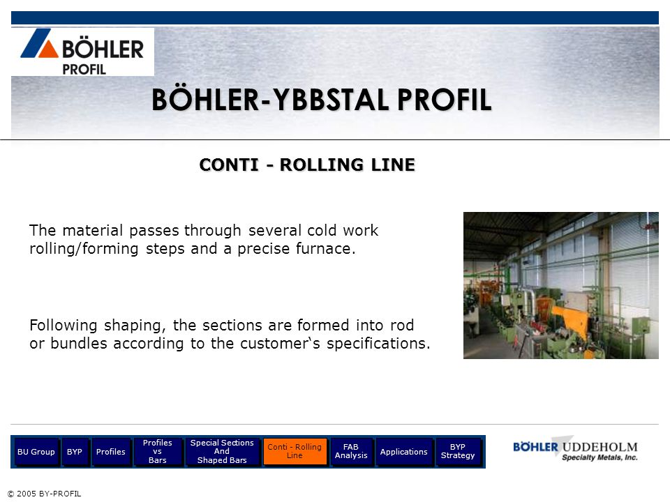 © 2005 BY-PROFIL BÖHLER-YBBSTAL PROFIL CONTI - ROLLING LINE The material passes through several cold work rolling/forming steps and a precise furnace.