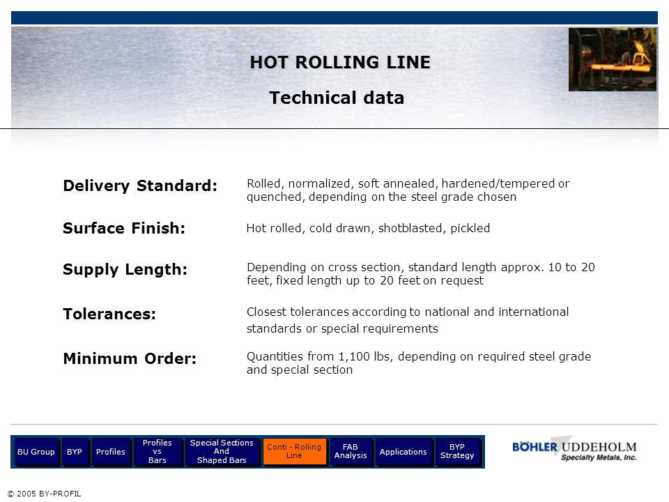 Delivery Standard: © 2005 BY-PROFIL Hot rolled, cold drawn, shotblasted, pickled Supply Length: Tolerances: Profiles BU Group Profiles vs Bars Profile