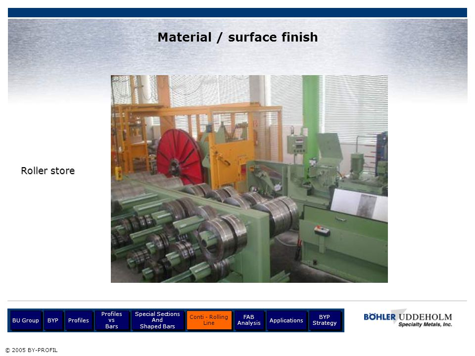Material / surface finish Roller store © 2005 BY-PROFIL Profiles BU Group Profiles vs Bars Profiles vs Bars Special Sections And Shaped Bars Special S