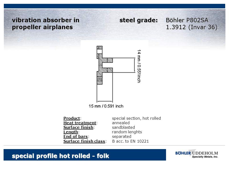 special profile hot rolled - folk Böhler vibration absorber in propeller airplanes Böhler P802SA 1.3912 (Invar 36) Product:special section, hot rolled