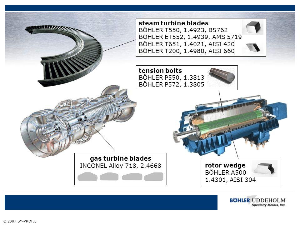 gas turbine blades INCONEL Alloy 718, 2.4668 rotor wedge BÖHLER A500 1.4301, AISI 304 tension bolts BÖHLER P550, 1.3813 BÖHLER P572, 1.3805 steam turb